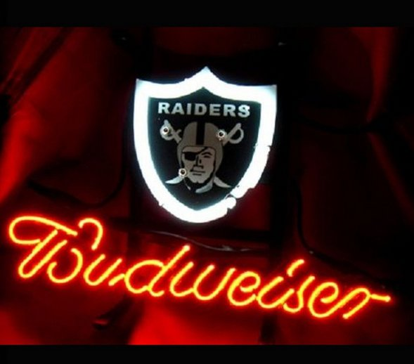 "Brand New NFL Oakland Raiders Budweiser Beer Bar Pub Neon Light Sign 13""x 8"" [High Quality]"