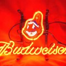 "Brand New MLB Cleveland Indians Budweiser Beer Bar Pub Neon Light Sign 13""x 8"" [High Quality]"