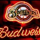 "Brand New MLB Milwaukee Brewers Budweiser Beer Bar Pub Neon Light Sign 13""x 8"" [High Quality]"