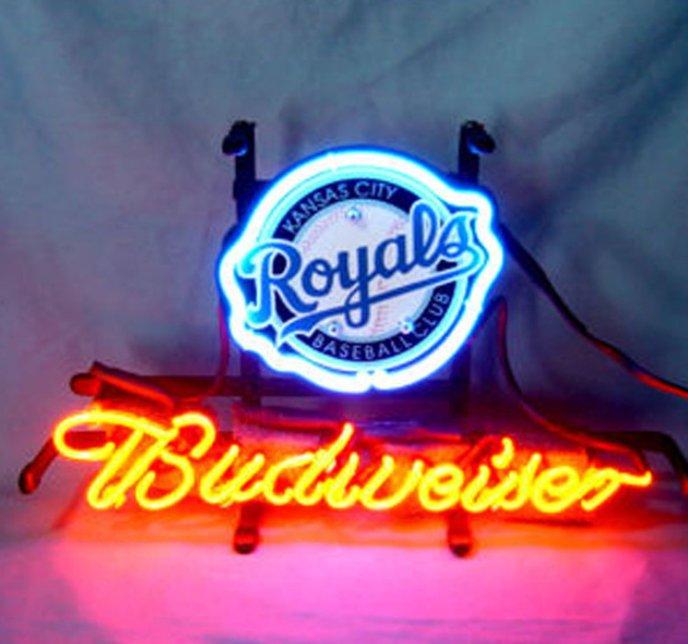 "Brand New MLB Kansas City Royals Budweiser Beer Bar Pub Neon Light Sign 13""x 8"" [High Quality]"