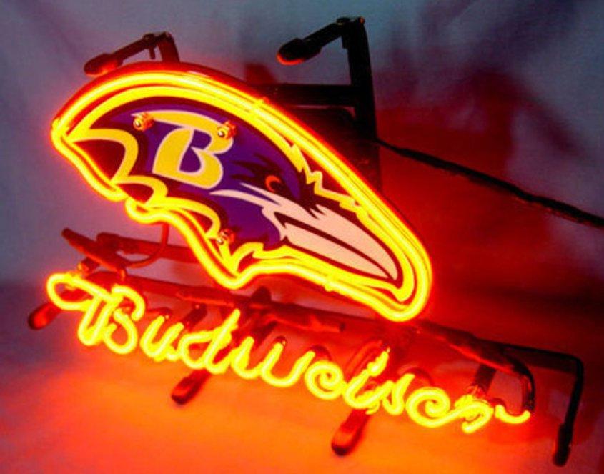 "Brand New NFL Baltimore Ravens Budweiser Beer Bar Pub Neon Light Sign 13""x 8"" [High Quality]"