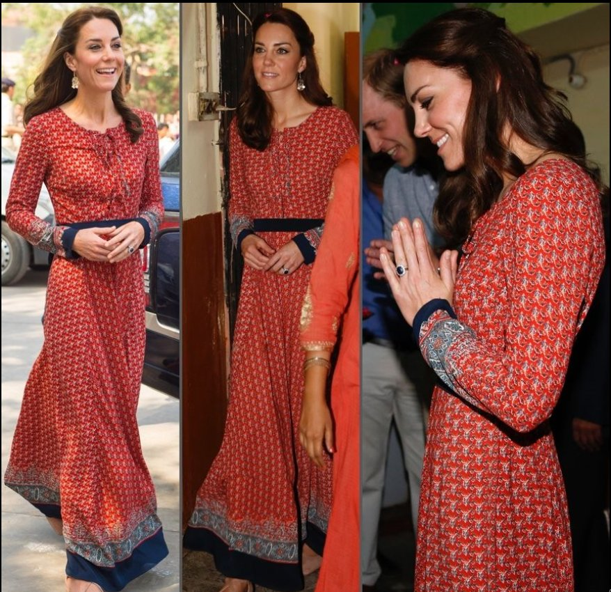 Kate Middleton Red Navy Border Print Lace Up Maxi Dress
