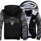 Jacket 2018  Oakland Raiders NFL Luxury Hoodies Super Warm Thicken Fleece Men's Coat US Grey Black