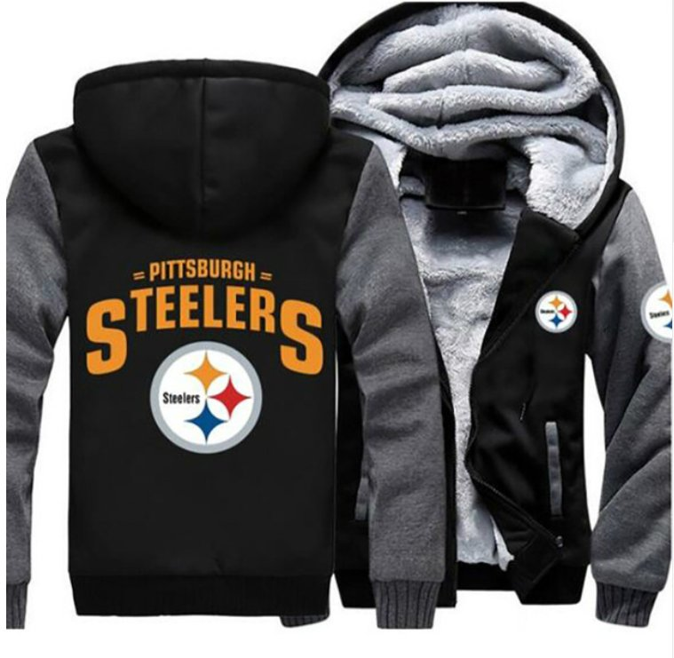 check out 33b2f eb293 Jacket 2019 Pittsburgh Steelers NFL Luxury Hoodies Super Warm Thicken  Fleece Men's Coat Grey Black