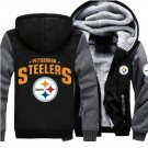 Jacket 2017 Pittsburgh Steelers NFL Luxury Hoodies Super Warm Thicken Fleece Men's Coat Grey Black