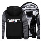 Jacket 2017  New England Patriots NFL Luxury Hoodies Super Warm Thicken Fleece Men's Coat Grey Black
