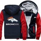 Men Jacket 2018 Denver Broncos NFL Luxury Hoodies Super Warm Thicken Fleece Men's Coat Blue Red