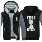 Jacket Rick and Morty Adult Swim Animated Series Fan Hoodies Super Warm Thicken Fleece Grey Black