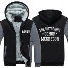 """Conor """"Notorious"""" McGregor MMA Luxury Hoodies Super Warm Thicken Fleece Men's Coat US Grey Black"""