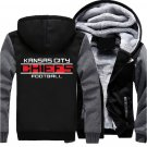Jacket 2017 Kansas City Chiefs NFL Luxury Hoodies Super Warm Thicken Fleece Men's Coat US Grey Black
