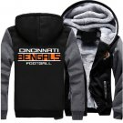 Jacket 2017 Cincinnati Bengals NFL Luxury Hoodies Super Warm Thicken Fleece Men's Coat US Grey Black
