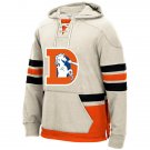 Denver Broncos Heavyweight Sweatshirts Funnel Neck Pullover Hoodie White