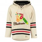 Chicago Blackhawks NHL Old Time Hockey Mens Old Lacer Heavyweight Sweatshirts White