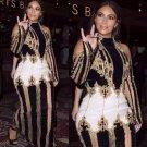 Kim Kardashian Runway Long Sleeve Beaded Celebrity Party Maxi Long Dress