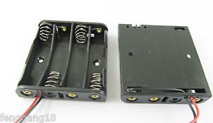 10pcs New 4x AAA 3A Cells Battery Holder Box Case 6V With 6'' Lead Wire Black