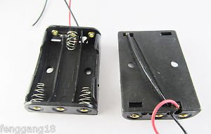 10pcs New 3x AA 2A Battery Holder Box Case 4.5V With Lead Wire Black