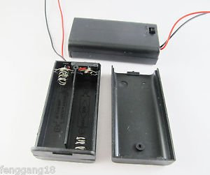 New 2x AA 2A 3V Cell Battery Holder Box Case With Switch 6'' Lead Wire Black
