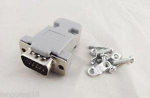 1x DB15 VGA Male Plug 15Pin 3 Rows D-Sub Connector Plastic Hood Cover Backshell