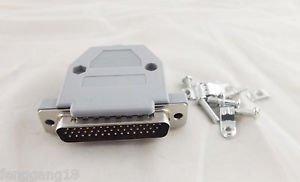DB44 Male Plug 44 Pin 3 Rows D-SUB Connector Grey Plastic Hood Cover Backshell