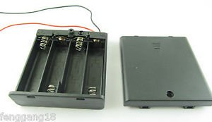 1x 4X AA 2A 6V Cell Battery Holder Box Case W/ On/Off Switch 6'' Lead Wire Black