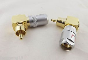 2x Gold Nakamichi Copper Right Angled RCA Male Plug Solderless Audio Connector