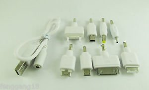 1 Set White USB Charge Cable with 8 DC Adapters for Cell Phones PSP MP3 Kit