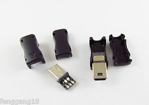 100pcs Mini USB 5 Pin Male Plug Socket Connector with Plastic Cover for DIY