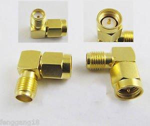 SMA Male Plug to SMA Female Jack Right Angle 90 Degree RF Connector Adapter
