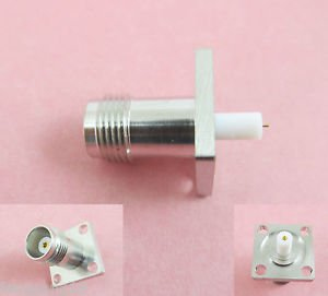 TNC Female Jack Panel Mount Chassis 4 Holes Flange PTFE Solder Connector 17.5mm