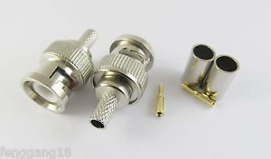 10 x 3 Piece BNC Male Plug Crimp RG58 RG142 RG400 LMR195 RG223 Coaxial Connector