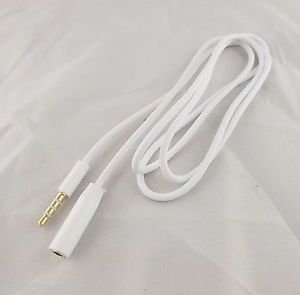 1x 3.5mm Male to Female Stereo Audio Headphone Aux Extension Cord Cable White 1m