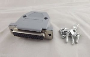 DB44 Female Jack 44 Pin 3 Rows D-SUB Connector Grey Plastic Hood Cover Backshell