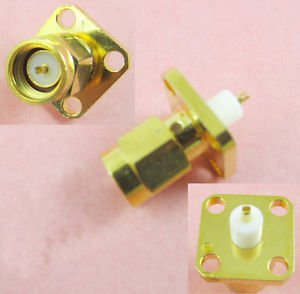 SMA Male Plug Chassis Panel Mount 4 Hole Panel Flange Solder Connector Adapter