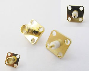 10X RP-SMA Female Male Pin Chassis Panel Mount 4 Hole Flange Solder RF Connector