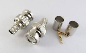 100 Sets 3 Piece BNC Male Plug Crimp For RG6 Cable RF Coaxial Connector