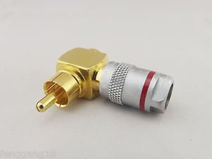 1x Gold Copper Right Angle RCA Male Plug Solderless Audio Video Cable Connector