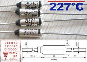 5Pcs Microtemp Thermal Fuse 227°C 227 Degree TF Cutoff SF226E 10A AC 250V New
