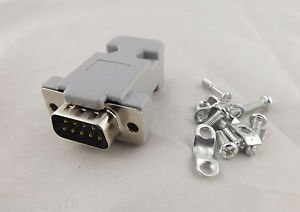 1x DB9 Male Plug 9Pin 2 Rows D-Sub Connector Grey Plastic Hood Cover Backshell