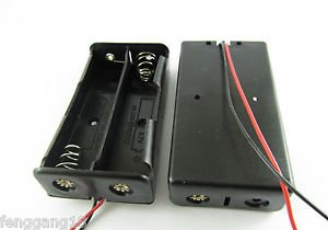 "Plastic Battery Storage Case Box Holder for 2 x 18650 Black with 6"" Wire Leads"