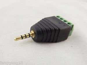 1x 2.5mm TRRS Stereo 4 Pole Male Plug To AV Screw Video Balun Terminal Adapter
