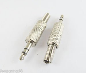 "3.5mm 1/8"" Stereo Male Plug Metal Audio Cable Nickel TRS Adapter Connector DIY"