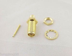 "1x RP-SMA Female Nut Bulkhead Solder RF Connector Semi-rigid RG402 0.141"" Cable"