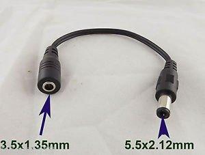 1pcs 5.5x2.1mm Male to 3.5x1.35mm Female CCTV DC Power Plug Jack Converter Cable