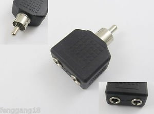 1x RCA Male Plug To Dual 3.5mm Female Stereo Y Splitter Audio Adapter Connector