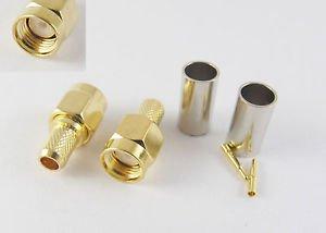 10x SMA Male Plug Straight Crimp for RG58 RG142 RG223 RG400 LMR195 RF Connector