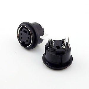 10pcs Mini 4 Pin DIN Jack Circular PCB Mount Female Connector