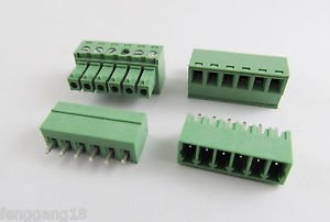 10pcs 6 Pin/Way Pitch 3.81mm Screw Terminal Block Connector Green Pluggable Type