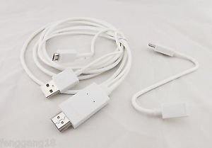 White 1080P MHL To HDMI HDTV Adapter Cable Kit for LG/HTC/HW/Samsung S5/S4/S3 2m