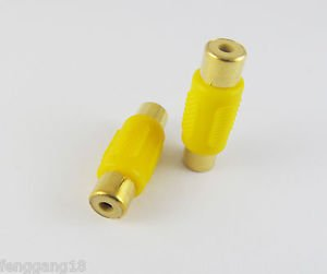 Yellow RCA Female Jack to RCA Female AV Audio Coupler Adapter Connector Gold