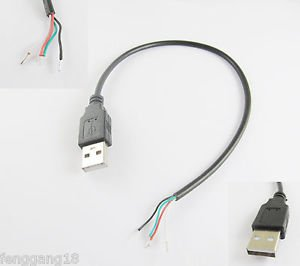 5x USB 2.0 A Male Plug 4 Pin 4 Wire Data Charge Cable Cord Connectors DIY 30cm